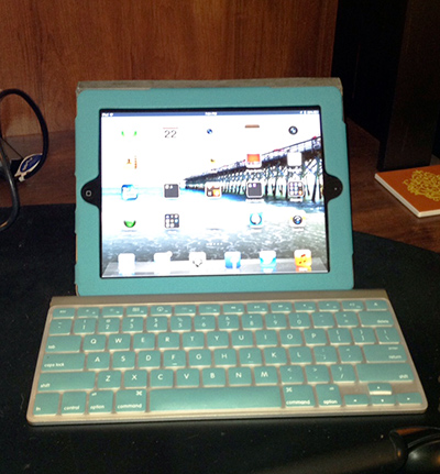 "Oddly enough, people would come to talk to me not about being TechCommGeekMom, but rather because of my notetaking set-up that was color coordinated! It's just a regular iPad3 and Apple wireless keyboard, but the iPad cover is by Brookstone, and there's a matching ""skin"" that I got for the keyboard from either Amazon or eBay very cheaply. For whatever reason, it captured a lot of attention! Hey, at least I kept my word that I would use mobile exclusively at the Summit, and I did!"