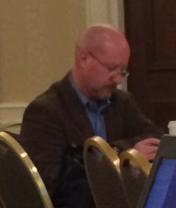 Joe Gollner taking notes during Val Swisher's talk.