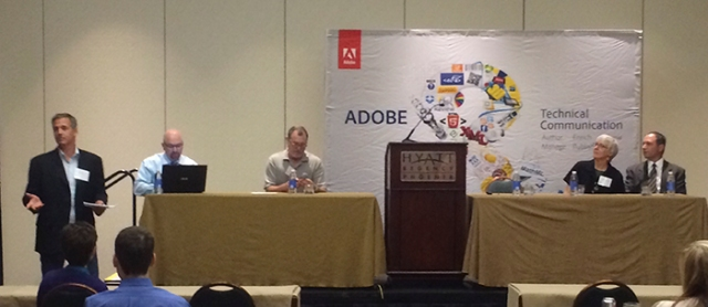 The Adobe Day Panel L to R: Matt Sullivan, Bernard Aschwanden, Joe Welinske, Marcia Riefer Johnston, and Kevin Siegel