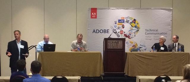 The Adobe Day Panel L to R: Matt Sullivan, Bernard Aschwanden, Joe Welinske, Marcia Riefer Johnston, and Kevin Siegel