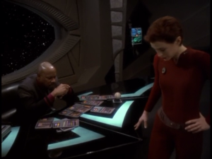 Even a StarFleet Captain like Benjamin Sisko can find this sort of thing daunting, and needs to seek Kira's help in straightening this out!
