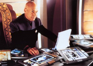 Captain Picard has a lot of editing to do with ipads around him everywhere.